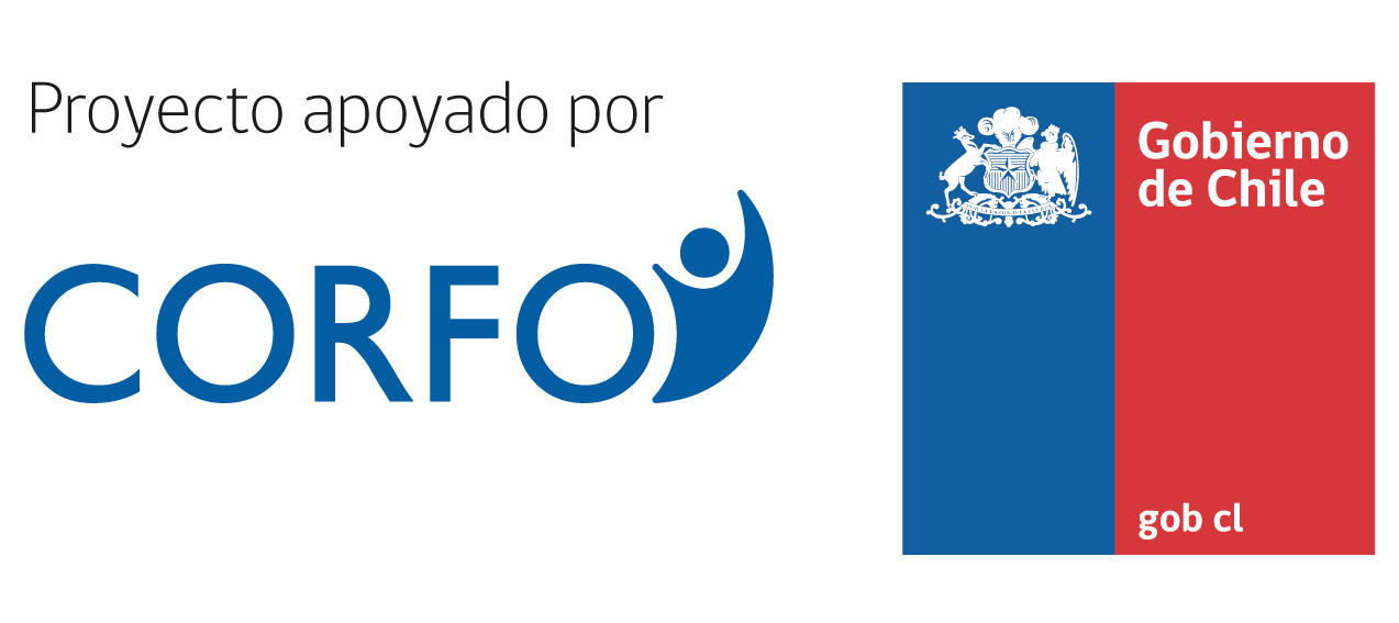 "Logotipo de Corfo. Las letras de ""proyecto apoyado por"" en color negro,                     las letras ""Corfo"" en color azul y el logotipo del Gobierno de Chile en color azul con rojo con el escudo                     en color blanco."