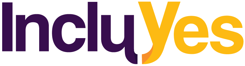"Logotipo de IncluYes. Sobre fondo blanco, las letras de ""Inclu""       en color morado y las letras de ""Yes"" en color amarillo."